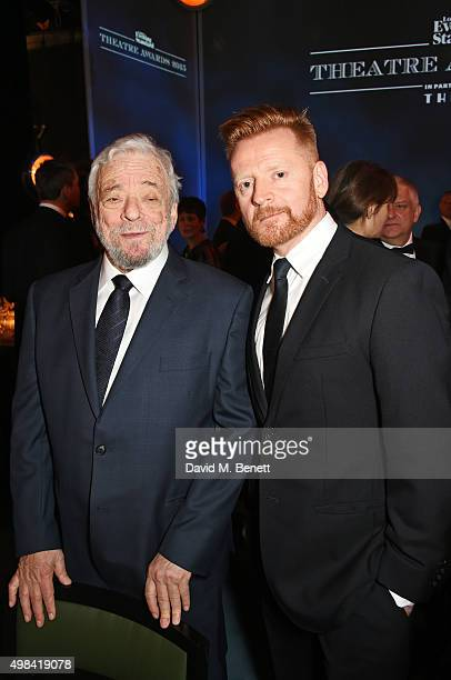 Stephen Sondheim and Christopher Oram attend a champagne reception ahead of The London Evening Standard Theatre Awards in partnership with The Ivy at...