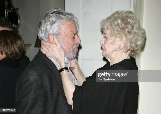 Stephen Sondheim and Elaine Stritch attend the final night of 'At Home At The Carlyle Elaine Stritch Singin' SondheimOne Song At A Time' at the Cafe...