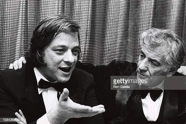 Stephen Sondheim and Leonard Bernstein during A Musical Tribute to Stephen Sondheim at Shubert Theater in New York City New York United States