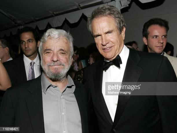 Stephen Sondheim and Warren Beatty during The Hollywood Bowl Celebrates Stephen Sondheim's 75th Birthday Reception at Hollywood Bowl in Hollywood...