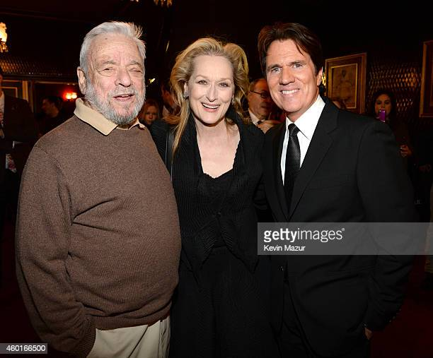 Stephen Sondheim Meryl Streep and director Rob Marshall attend the world premiere of 'Into the Woods' at the Ziegfeld Theatre on December 8 2014 in...