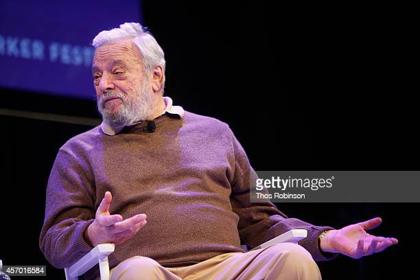 Stephen Sondheim participates in a discussion with Adam Gopnik during the New Yorker Festival on October 10 2014 in New York City