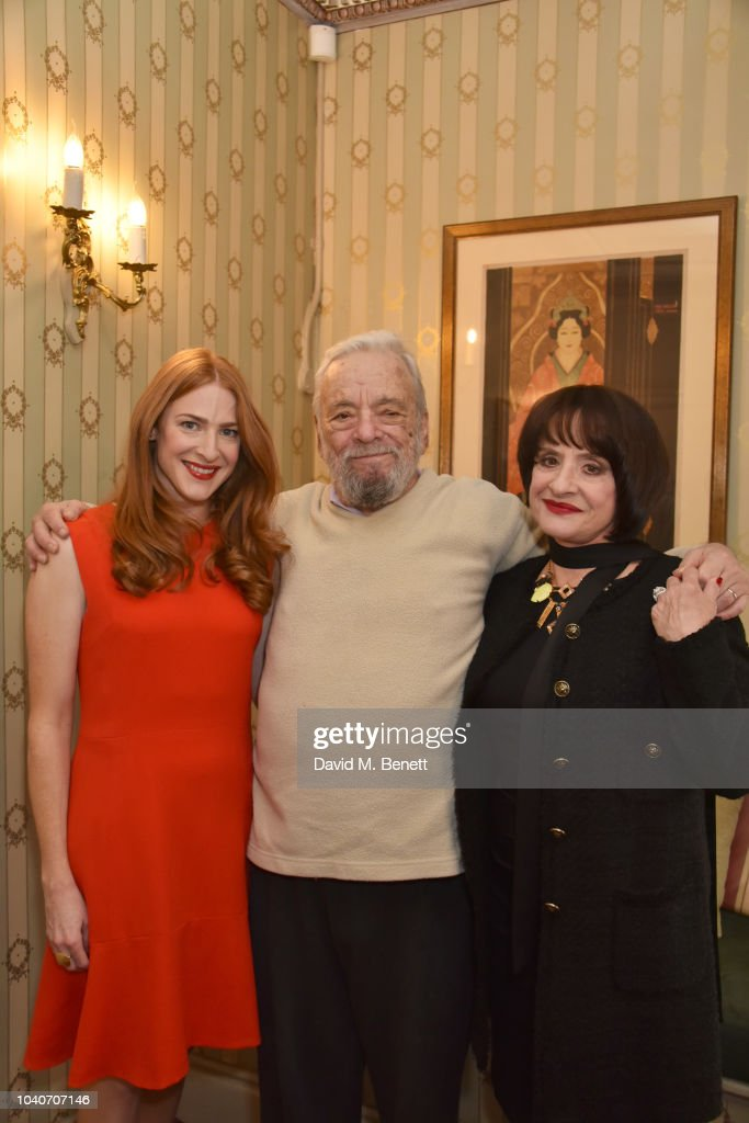Stephen Sondheim poses backstage with cast members Rosalie