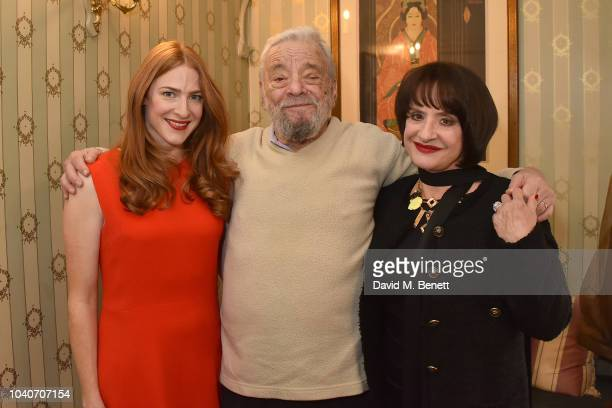Stephen Sondheim poses backstage with cast members Rosalie Craig and Patti LuPone of the new West End production of 'Company' at Gielgud Theatre on...