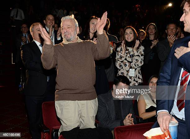Stephen Sondheim receives a standing ovation at the world premiere of 'Into the Woods' at the Ziegfeld Theatre on December 8 2014 in New York City...