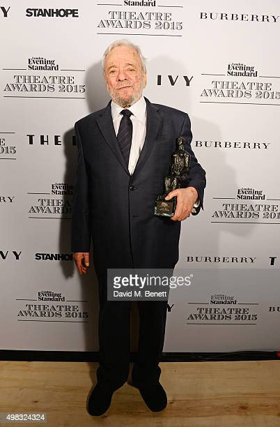 Stephen Sondheim winner of the Lebedev Award poses in front of the Winners Boards at The London Evening Standard Theatre Awards in partnership with...