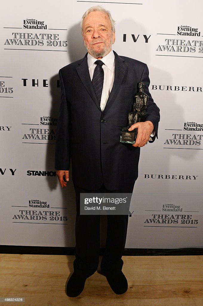Stephen Sondheim, winner of the Lebedev Award, poses in front of the Winners Boards at The London Evening Standard Theatre Awards in partnership with The Ivy at The Old Vic Theatre on November 22, 2015 in London, England.