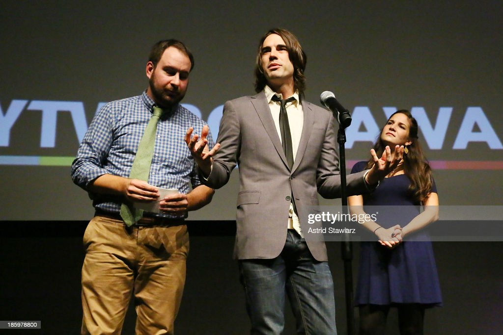 Stephen Soroka, Nic Rad and Maria Krovatin accept the NYTVF 'Best of the Fest' and 'Audience Award' award for ÒRe:VerseÓ during the awards ceremony at the 9th Annual New York Television festival at SVA Theater on October 26, 2013 in New York City.