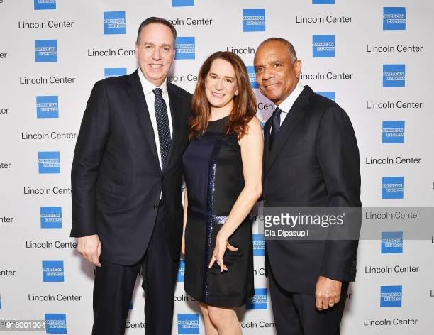 Stephen Squeri Debora L Spar and Kenneth I Chenault attends the Winter Gala at Lincoln Center at Alice Tully Hall on February 13 2018 in New York City