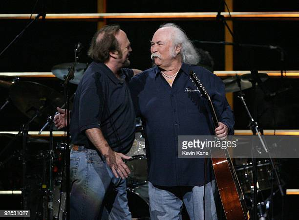 Stephen Stills and David Crosby of Crosby Stills and Nash performs onstage at the 25th Anniversary Rock Roll Hall of Fame Concert at Madison Square...