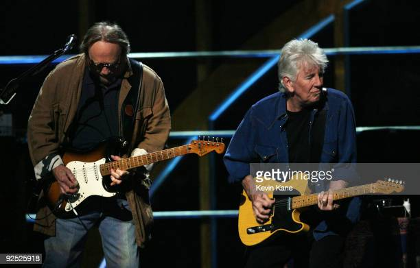 Stephen Stills and Graham Nash of Crosby Stills and Nash performs onstage at the 25th Anniversary Rock Roll Hall of Fame Concert at Madison Square...