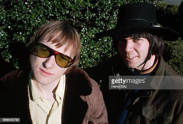 Stephen Stills and Neil Young original members of folkrock band Buffalo Springfield stand along San Francisco Bay shores at the time of the release...