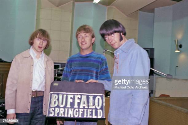 Stephen Stills Dewey Martin and Neil Young of the superstar group 'Buffalo Springfield' record at Gold Star Recording Studios in 1966 in Los Angeles...