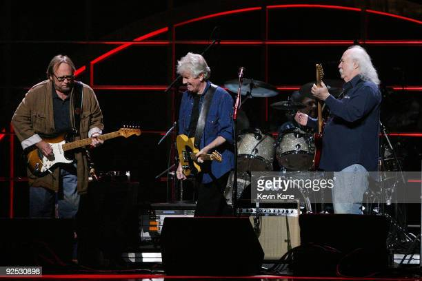 Stephen Stills Graham Nash and David Crosby of Crosby Stills and Nash perform onstage at the 25th Anniversary Rock Roll Hall of Fame Concert at...