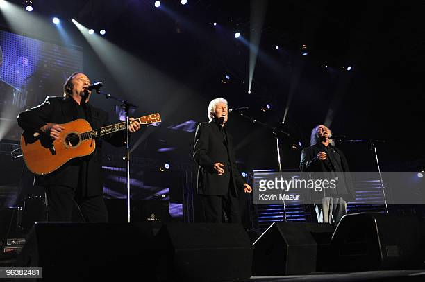 Stephen Stills Graham Nash and David Crosby of Crosby Stills and Nash performs at 2010 MusiCares Person Of The Year Tribute To Neil Young at the Los...