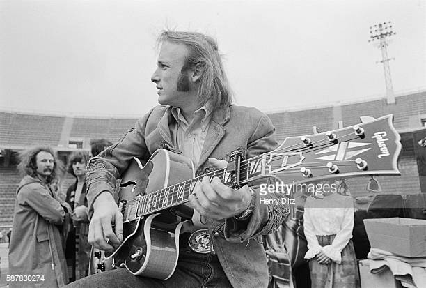 Stephen Stills plays his Gibson guitar during sound check prior to a Crosby Stills Nash Young concert at Balboa Stadium