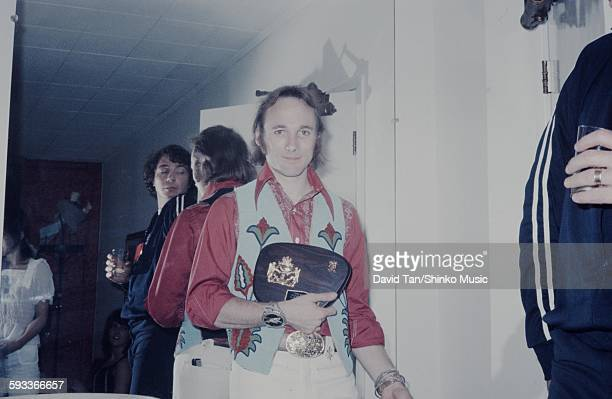 Stephen Stills with Music Life Magazine plaque in the dressing room June 1972