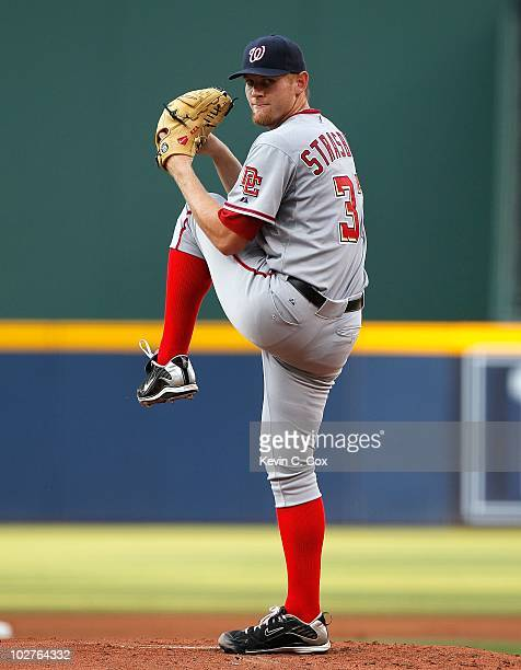 Stephen Strasburg of the Washington Nationals against the Atlanta Braves at Turner Field on June 28 2010 in Atlanta Georgia
