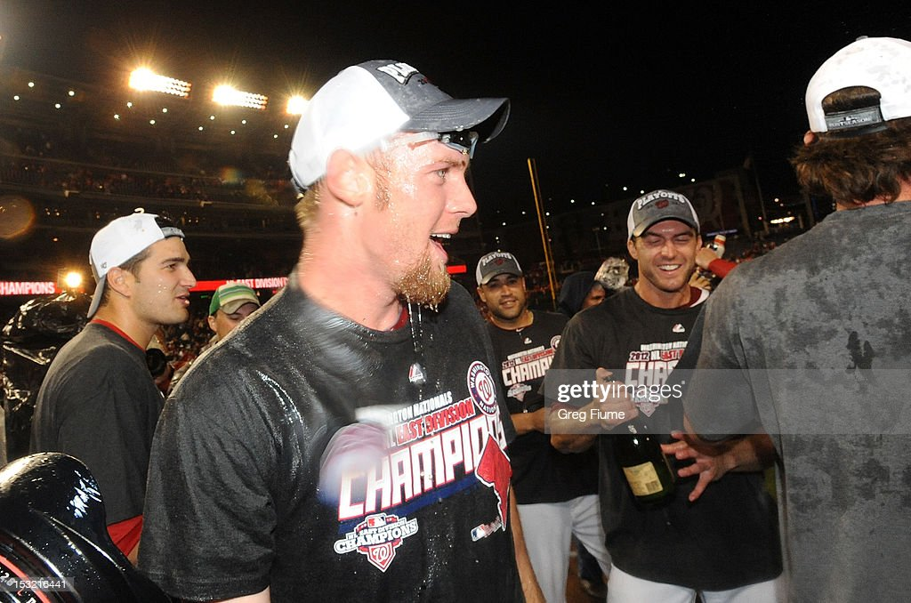 Stephen Strasburg #37 of the Washington Nationals celebrates after winning the National League East Division Championship after the game against the Philadelphia Phillies at Nationals Park on October 1, 2012 in Washington, DC.