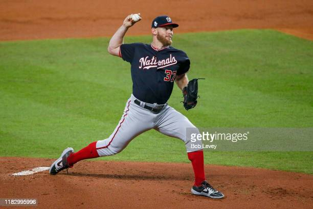 Stephen Strasburg of the Washington Nationals delivers the pitch against the Houston Astros during the first inning in Game Two of the 2019 World...
