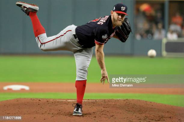Stephen Strasburg of the Washington Nationals delivers the pitch against the Houston Astros during the first inning in Game Six of the 2019 World...