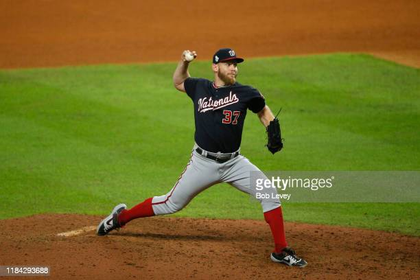 Stephen Strasburg of the Washington Nationals delivers the pitch against the Houston Astros during the ninth inning in Game Six of the 2019 World...