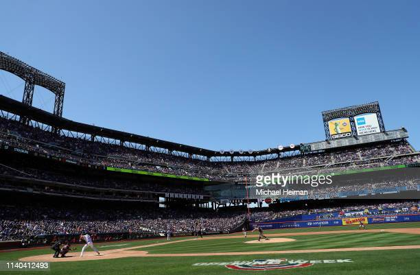 Stephen Strasburg of the Washington Nationals pitches against Noah Syndergaard of the New York Mets on April 04, 2019 during the Mets home opener at...