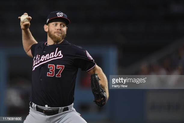 Stephen Strasburg of the Washington Nationals pitches against the Los Angeles Dodgers in the first inning in game two of the National League Division...