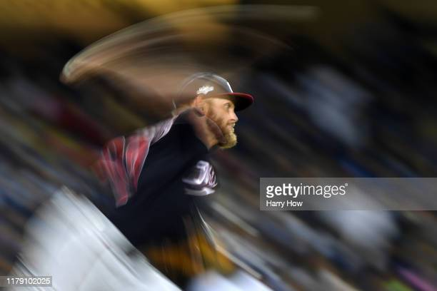Stephen Strasburg of the Washington Nationals pitches against the Los Angeles Dodgers in the fifth inning in game two of the National League Division...