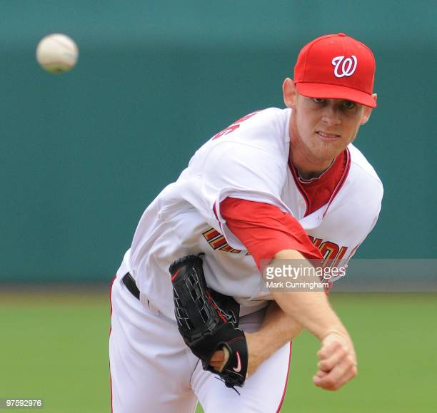 Stephen Strasburg of the Washington Nationals pitches against the Detroit Tigers during a spring training game at Space Coast Stadium on March 9 2010...