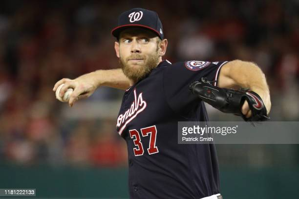 Stephen Strasburg of the Washington Nationals pitches against the St Louis Cardinals in game three of the National League Championship Series at...