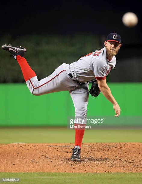 Stephen Strasburg of the Washington Nationals pitches during a game against the Miami Marlins at Marlins Park on September 5 2017 in Miami Florida