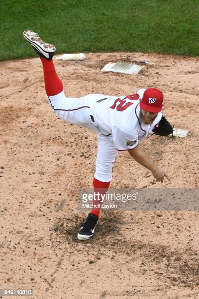 Stephen Strasburg of the Washington Nationals pitches during a baseball game against the Colorado Rockies at Nationals Park on April 15 2018 in...