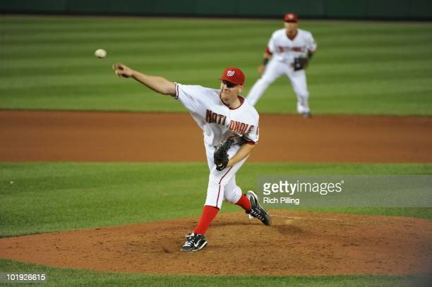 Stephen Strasburg of the Washington Nationals pitches during his Major League Baseball debut in the game against the Pittsburgh Pirates at Nationals...