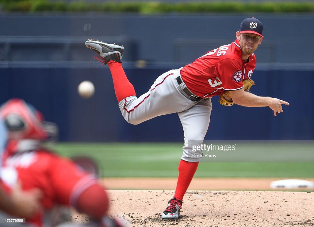Stephen Strasburg #37 of the Washington Nationals pitches during the first inning of a baseball game against the San Diego Padres at Petco Park May 17, 2015 in San Diego, California.