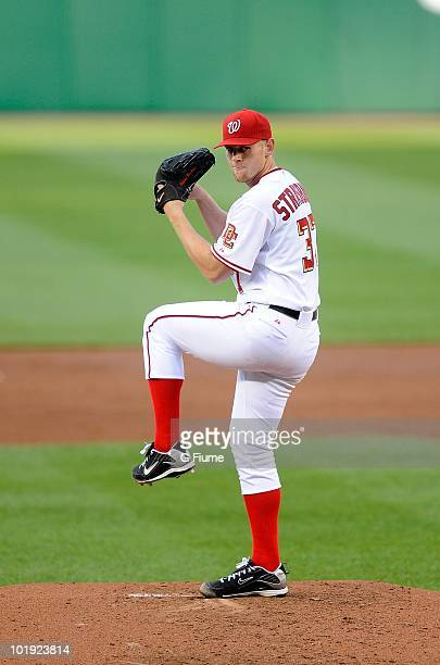 Stephen Strasburg of the Washington Nationals pitches in his major league debut against the Pittsburgh Pirates at Nationals Park on June 8 2010 in...