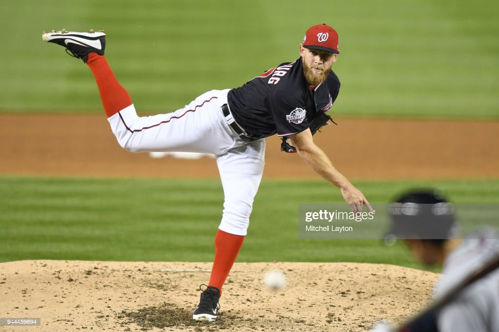 Stephen Strasburg #37 of the Washington Nationals pitches in the fifth inning during a baseball game against the Atlanta Braves at Nationals Park on April 10, 2018 in Washington, DC.