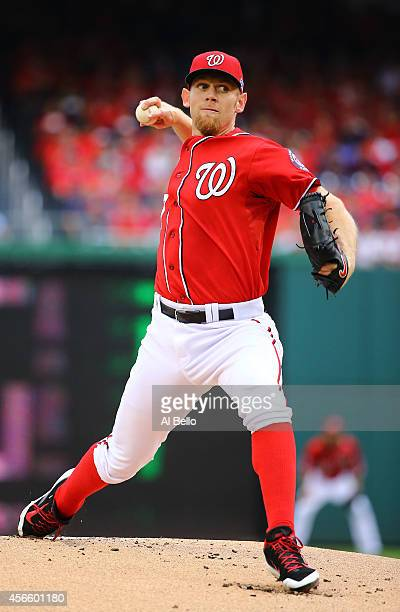 Stephen Strasburg of the Washington Nationals pitches in the first inning against the San Francisco Giants during Game One of the National League...