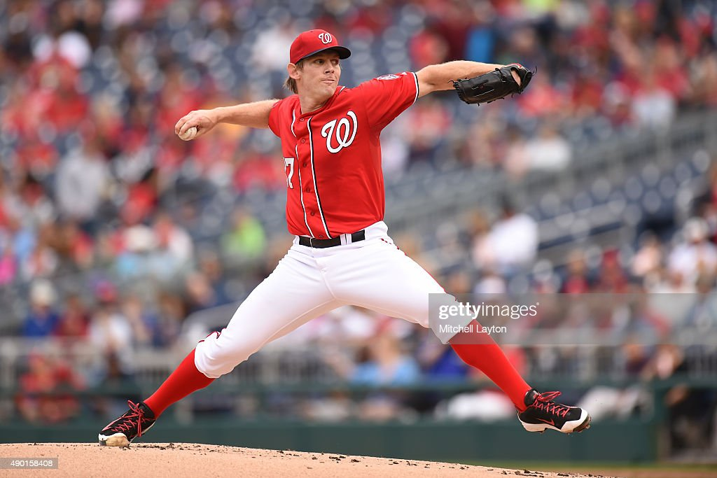 Stephen Strasburg #37 of the Washington Nationals pitches in the first inning during a baseball game against the Philadelphia Phillies at Nationals Park on September 26, 2015 in Washington, DC.