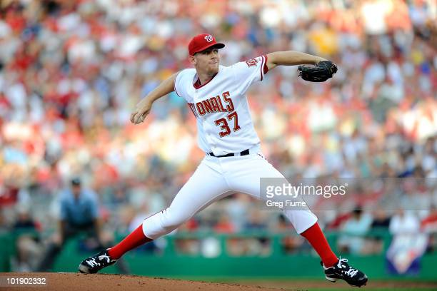 Stephen Strasburg of the Washington Nationals pitches in the second inning against the Pittsburgh Pirates at Nationals Park on June 8 2010 in...