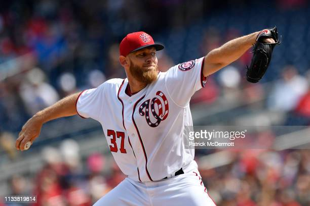 Stephen Strasburg of the Washington Nationals pitches in the second inning against the New York Mets at Nationals Park on March 30 2019 in Washington...
