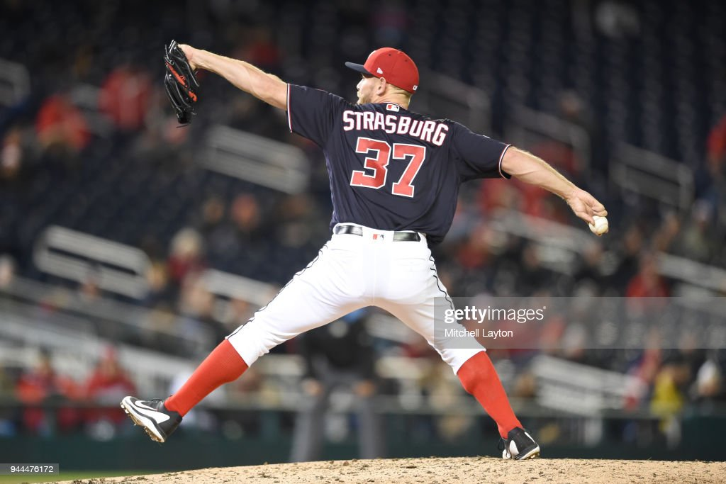 Stephen Strasburg #37 of the Washington Nationals pitches in the seventh inning during a baseball game against the Atlanta Braves at Nationals Park on April 10, 2018 in Washington, DC.