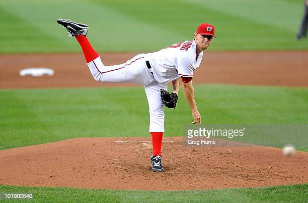 Stephen Strasburg of the Washington Nationals pitches in the third inning against the Pittsburgh Pirates at Nationals Park on June 8 2010 in...