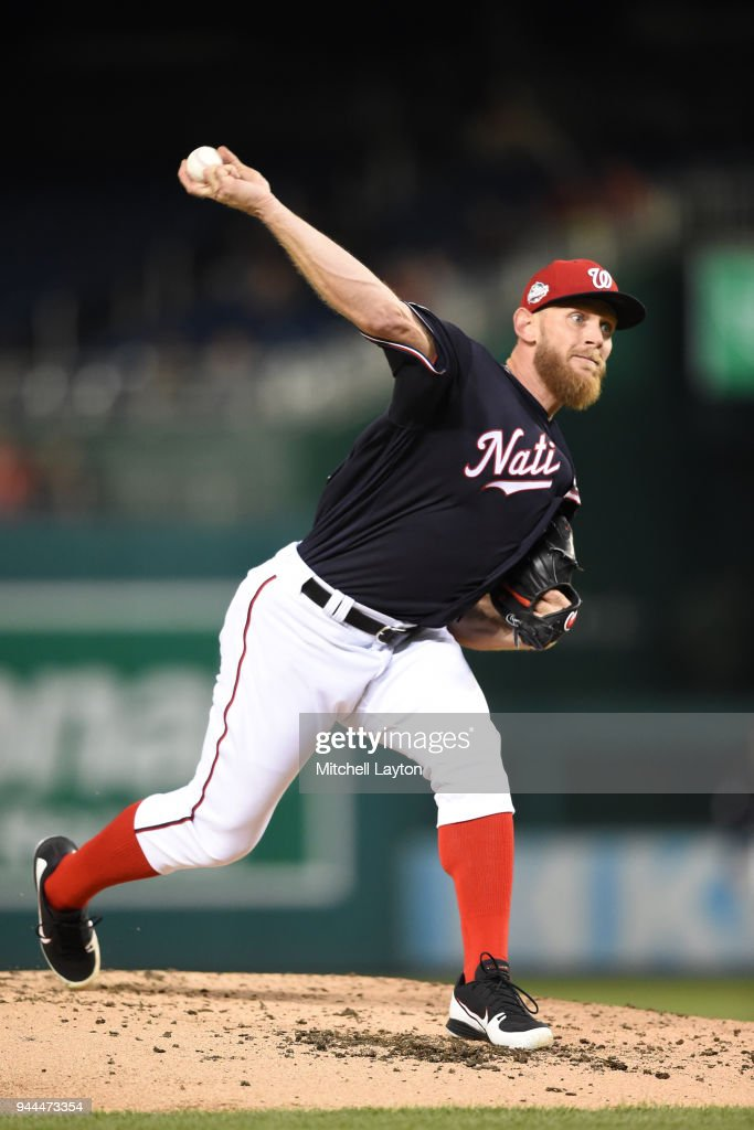 Stephen Strasburg #37 of the Washington Nationals pitches in the third inning during a baseball game against the Atlanta Braves at Nationals Park on April 10, 2018 in Washington, DC.