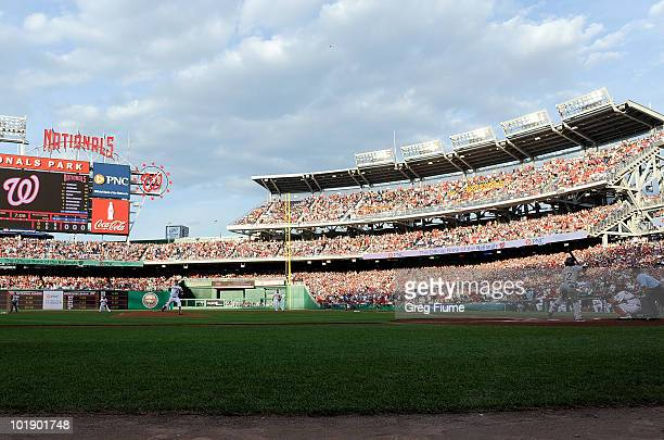 Stephen Strasburg of the Washington Nationals pitches the first pitch of the game to Andrew McCutchen of the Pittsburgh Pirates at Nationals Park on...