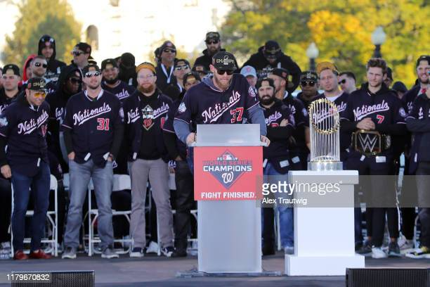 Stephen Strasburg of the Washington Nationals speaks during the 2019 World Series victory parade on Saturday November 2 2019 in Washington DC