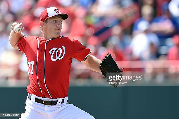 Stephen Strasburg of the Washington Nationals throws a pitch during the first inning of a spring training game against the New York Mets at Space...
