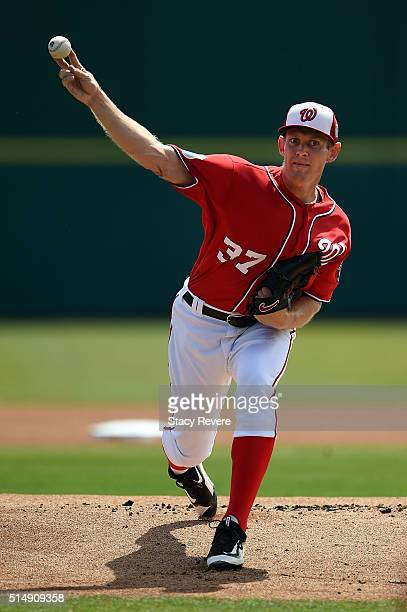 Stephen Strasburg of the Washington Nationals throws a pitch prior to a spring training game against the New York Mets at Space Coast Stadium on...