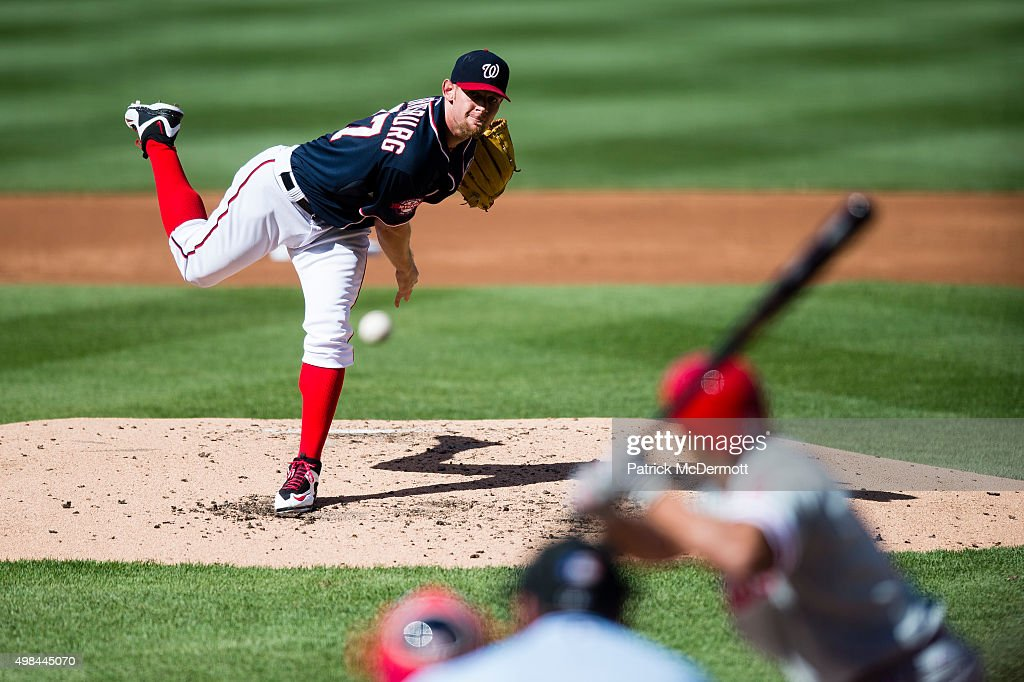 Stephen Strasburg #37 of the Washington Nationals throws a pitch to a Philadelphia Phillies batter during a baseball game at Nationals Park on May 23, 2015 in Washington, DC.