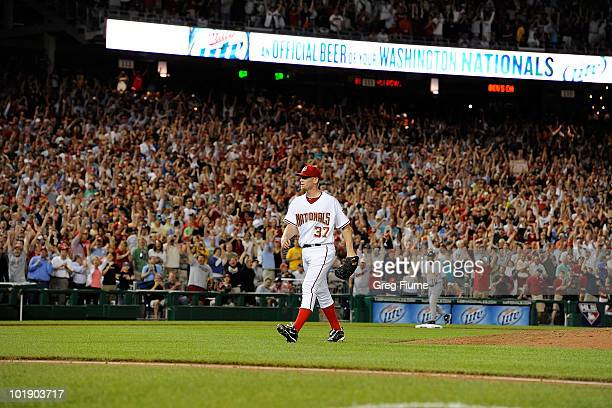 Stephen Strasburg of the Washington Nationals walks off the field after the seventh inning of the game against the Pittsburgh Pirates at Nationals...